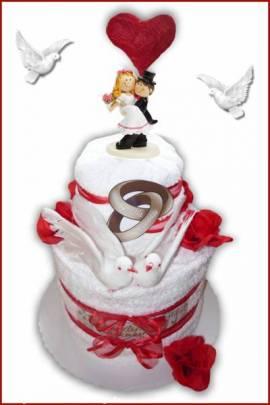 Handtuchtorte Hochzeit groß mit Rosen und Tauben - Bild vergrößern