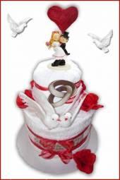 Handtuchtorte Hochzeit groß mit Rosen und Tauben