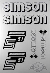 Aufkleber Set Simson S51 Enduro Weiß