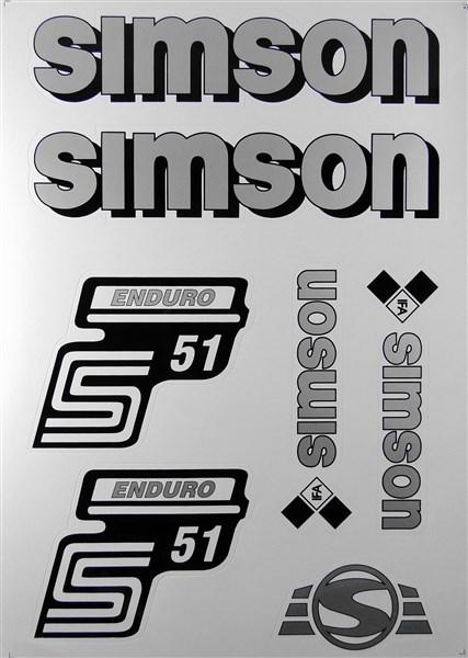 Aufkleber Set Simson S51 Enduro Silber